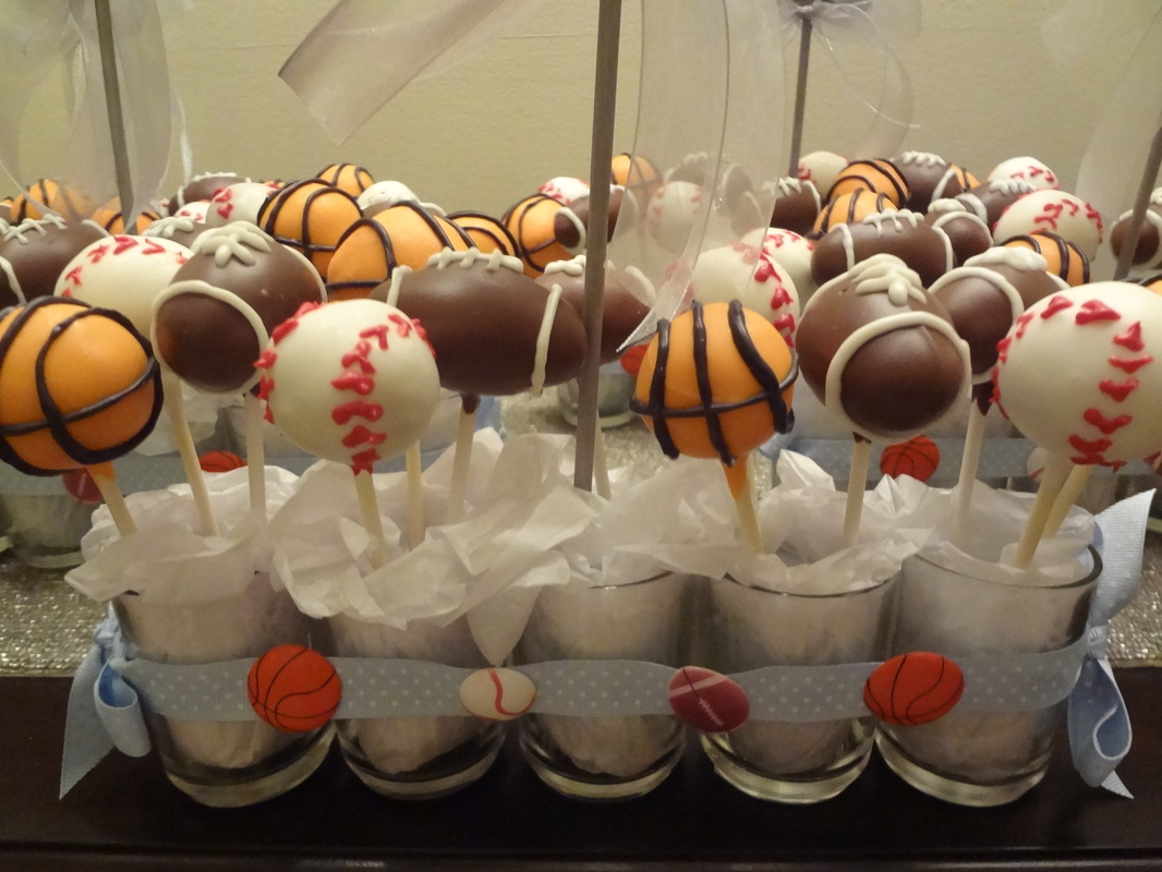 Sporty-themed baby shower cake-pop centerpieces - Cards, crafts, and cake-pops by Amie